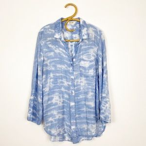 Bella Dahl | Split Back Button Down Blue Tie Dye